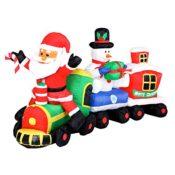 LED Weihnachtszug mit Weihnachtsmann + Schneemann