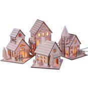 Holz-Häuser mit Beleuchtung