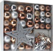 Weihnachtskugeln Set 45-teilig silber/braun