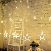Lichterkette Vorhang mit Sternen