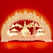 LED Holz Schwibbogen Weihnachtsmarkt